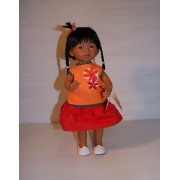 Marietta Robe orange et rouge