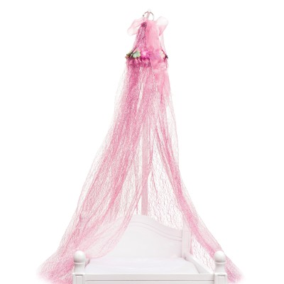 Ciel de lit rose pour lit de poupée