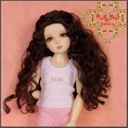Perruque bouclée Brune pour poupée 12 inch