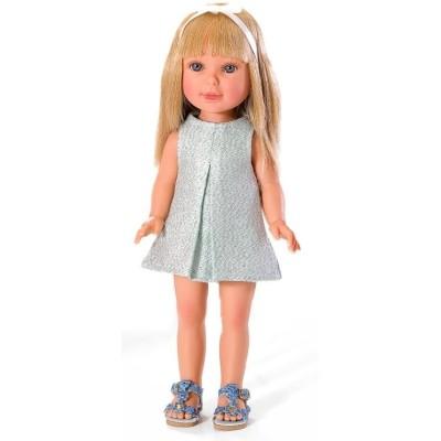 Paulina Blonde robe lurex bleu ciel