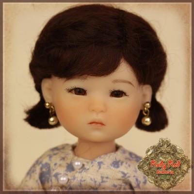 Perruque Mohair noire pour poupée 8 inch