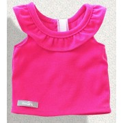 Top Fuchsia volants sans manches