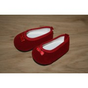 Ballerines pantoufles rouges en velours