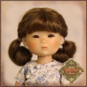 Perruque Mohair brune à 2 nattes pour poupée 8 inch