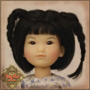 Perruque Mohair noire 2 tresses pour poupée 8 inch