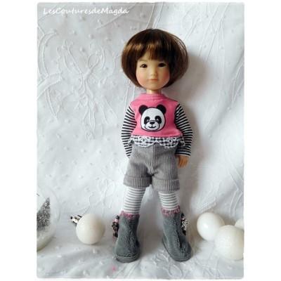 Tenue Panda Rose pour poupée Ten Ping