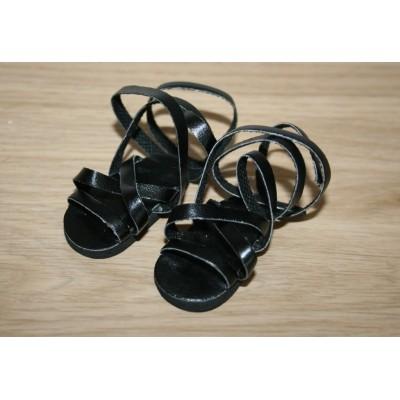 Sandales noires à lanières pour Amigas