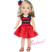 Tenue Robe rouge et Navy Poupée Hearts for Hearts