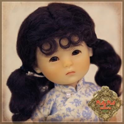 Perruque Mohair à nattes pour poupée 8 inch