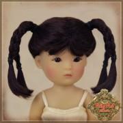 Perruque noire à tresses pour poupée Yu Ping 14 Cm
