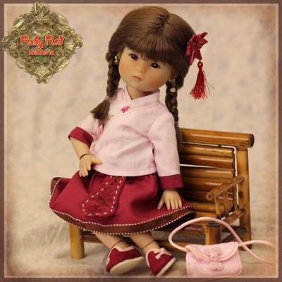 Ensemble Blouse rose et Jupe rouge pour InMotion Girls