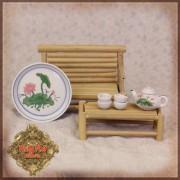 Set Banc et Table bambou, ainsi que le Service à thé motif vert