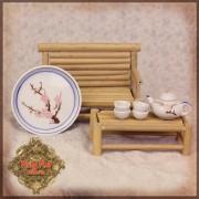 Set Banc et Table bambou, ainsi que le Service à thé Fleur rose