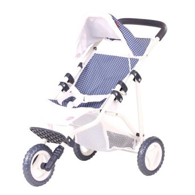 Buggy Bleu pois blancs à 3 roues pour poupée 30-52 Cm