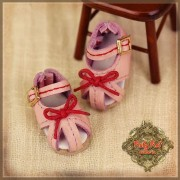 Chaussures cuir rose à noeud rouge pour InMotion Girl