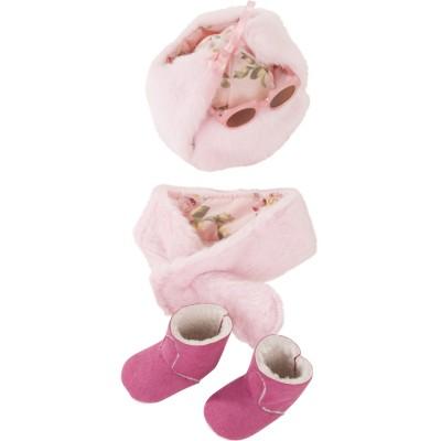 Set Chapeau, écharpe, Bottes et Lunettes pour poupées 42-50 Cm