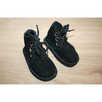 Bottines noires en daim à lacets
