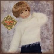 Pull Ivoire à col roulé pour poupée Rubyred 30 Cm