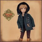Manteau vert à capuchon pour poupée Rubyred 30 Cm