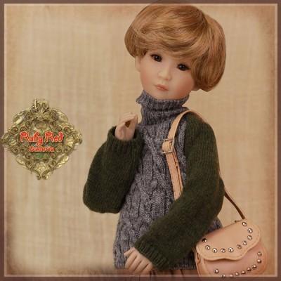 Pull kaki et gris à col roulé pour poupée Rubyred 30 Cm