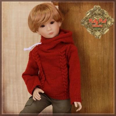 Pull rouge à capuchon pour poupée Rubyred 30 Cm