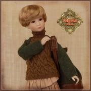 Pull kaki et brun à col roulé pour poupée Rubyred 30 Cm