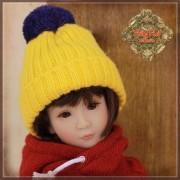 Bonnet jaune à pompon pour poupée Rubyred 30 Cm