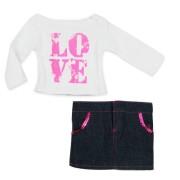 Ensemble Tee-Shirt Love et Jupe jeans Sophia's