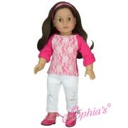 Tenue Tee-Shirt Rose dentelle et Pantalon blanc déchiré Sophia's