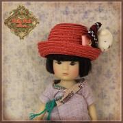 Chapeau de paille rouge ours pour poupée Rubyred 14 Cm
