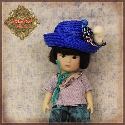 Chapeau de paille bleu ours pour poupée Rubyred 14 Cm
