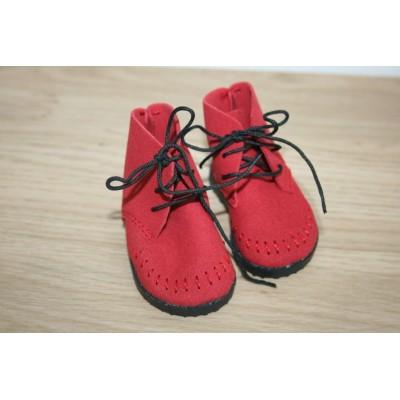 Bottines rouges en daim à lacets