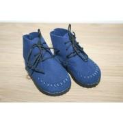 Bottines bleues en daim à lacets