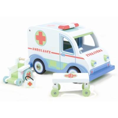 Ambulance et chaise roulante en bois