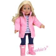 Ensemble Parka rose et leggings marine - Sophia's