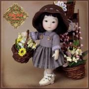 Ensemble Robe grise et chapeau pour Yu Ping