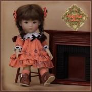 Ensemble Robe orange à volants pour Yu Ping