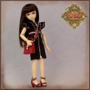 Ensemble Robe noire et Sac rouge pour poupée Rubyred 30 Cm
