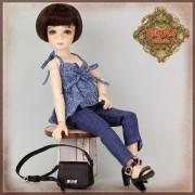 Ensemble Blouse fleurie et Jeans pour poupée Rubyred 30 Cm