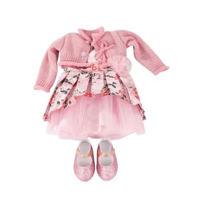 Ensemble Robe rose brocart et gilet pour Poupée 45-50 Cm - Gotz