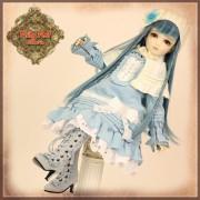 Ensemble Robe bleue et chapeau pour poupée Rubyred 30 Cm