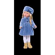 Carlota Blonde Manteau velours bleu - Vestida de Azul