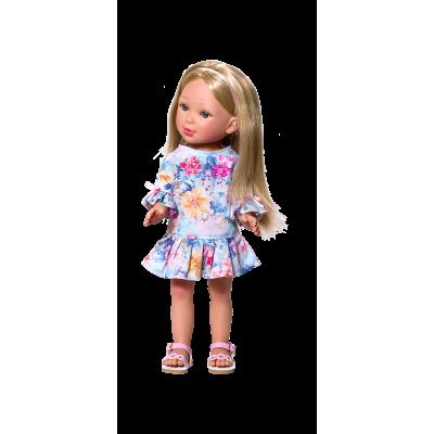 Paulina Blonde Robe fleurie à volants - Vestida de Azul