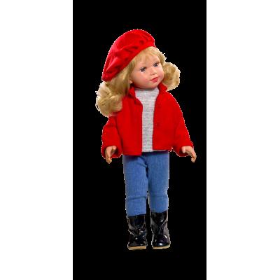Poupée Coral Blonde Veste rouge et Jeans - Vestida de Azul