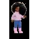 Poupée Coral Africaine Pull rose et Jeans - Vestida de Azul