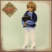 Tenue Boy Style Pull bleu et pantalon pour poupée Rubyred 30 Cm