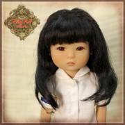 Perruque longue noire avec tresses pour poupée Ten Ping 8 inch - Rubyred