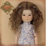 Perruque longue ondulée brune pour poupée Ten Ping 8 inch - Rubyred