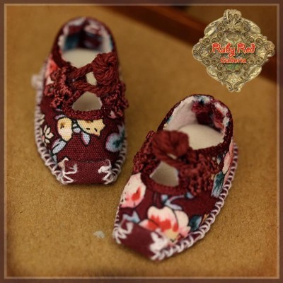 Chaussures bordeaux fleuries en toile pour InMotion Girl - Rubyred