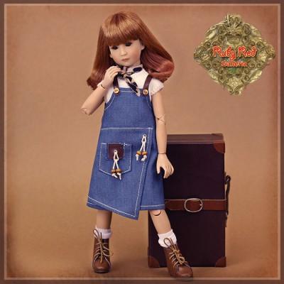 Ensemble Robe Jeans et pull blanc pour poupée Rubyred 30 Cm
